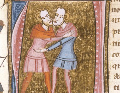 tegning af to mænd, der krammer