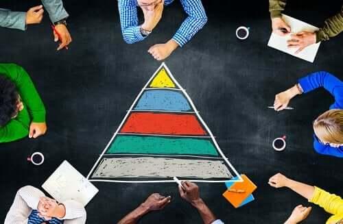 Maslows behovspyramide tegnet på et bord