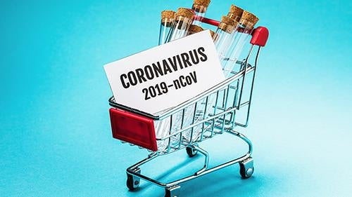 Coronavirus i indkøbskurv