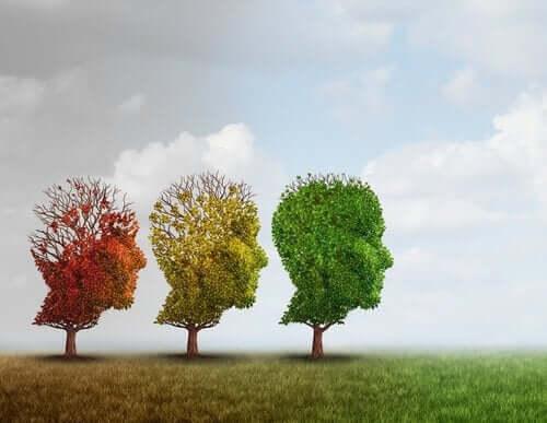 træer i tre farver
