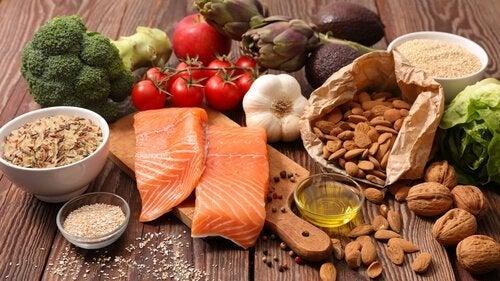 udvalg af sunde fødevarer