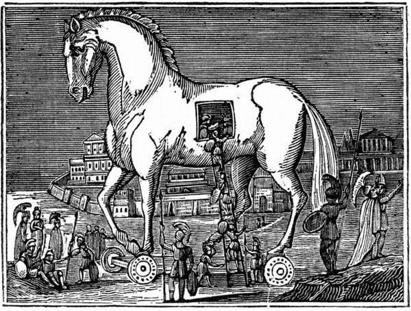 Tegning af trojansk hest