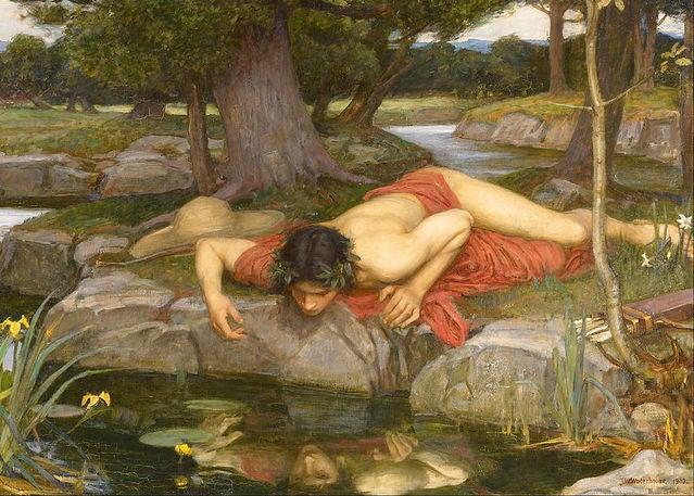 Narcissus ser sit eget spejlbillede