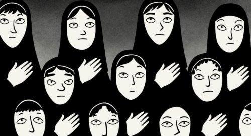 Animerede kvinder i burka på række