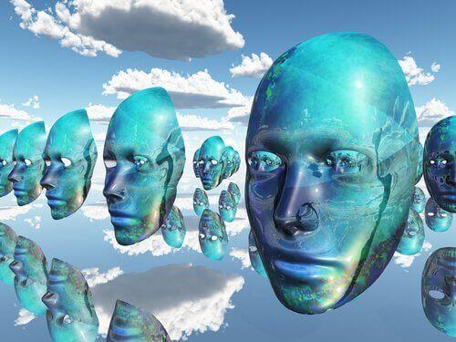 Ansigter på linje på himmel