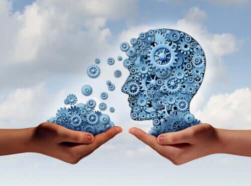 Mind Control illustreres af hjerne, der fyldes med tandhjul