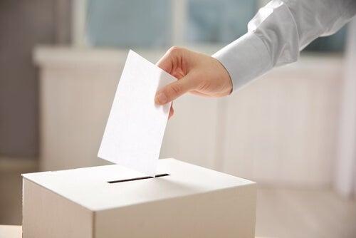 Person lægger stemme i stemmeboks