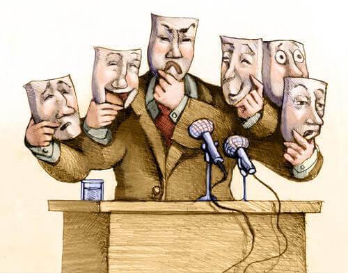 Politiker med masker illustrerer politiske propagandataktikker