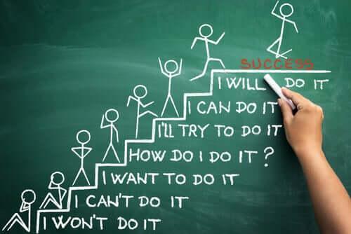 Tegning af person, der går op ad trappe til succes