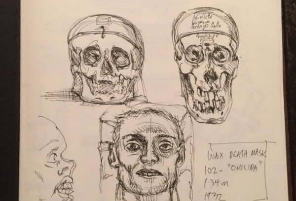 Tegnede kranier viser teori om kriminelle af Cesare Lobroso