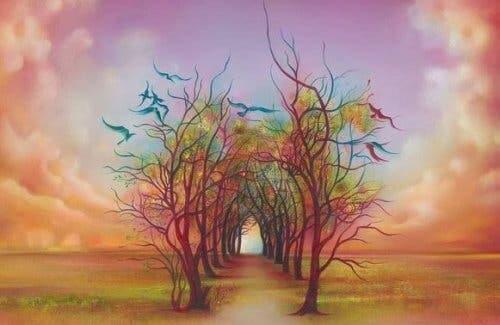 Den ottefoldige vej gennem træer