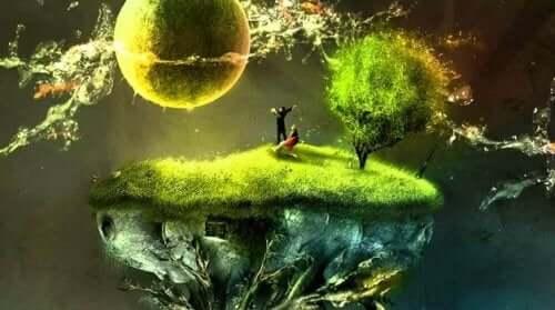 Flyvende klippe med græs i universet