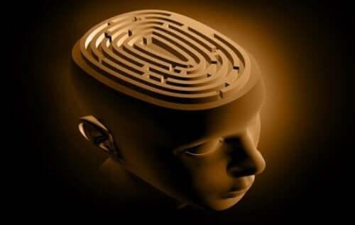 Figur med hjerne som en labyrint
