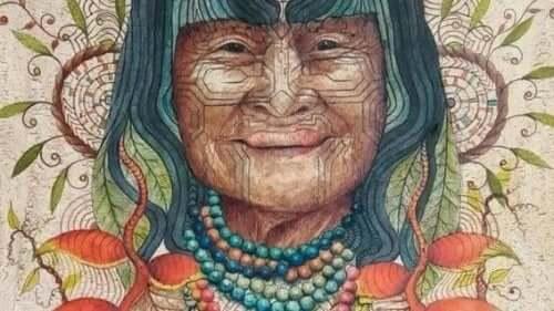 Maleri af indianerkvinde