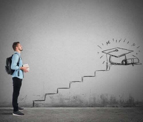 Mand, der står for enden af en tegnet trappe på væg