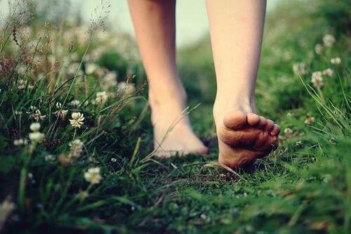 Bare fødder i græsset