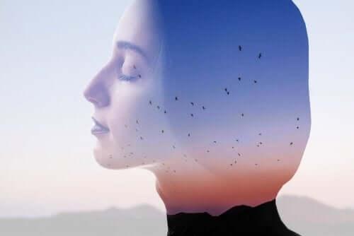 Kvinde i dybe tanker med svævende fugle