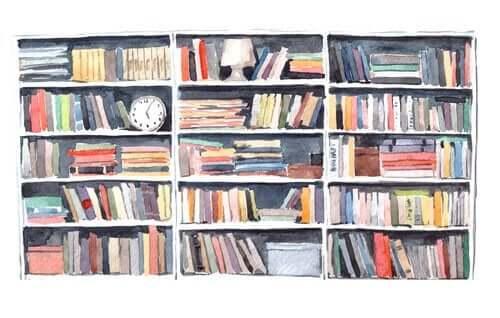 Tegning af en bogreol