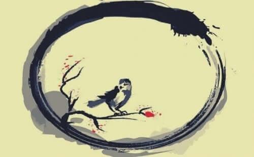 Tegning med fugl i en cirkel