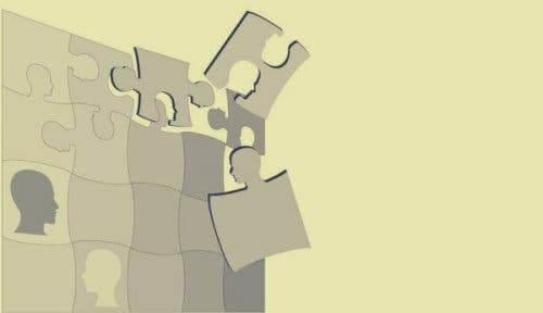 Raymond Cattell og teori om personlighed illustreres af puslespil med hoveder