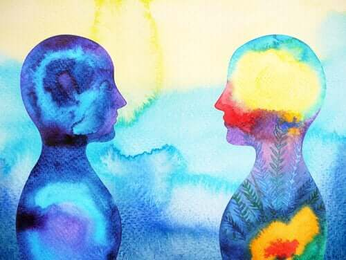 Farverigt maleri af to skikkelser