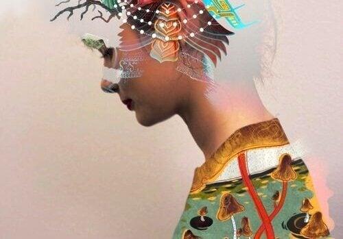 Kvinde i farverigt kostume