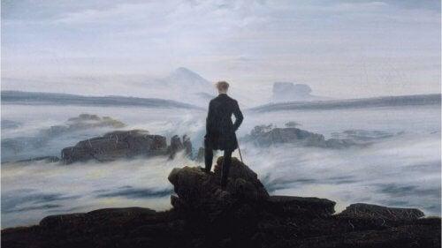 Maleri af mand, der kigger på havet