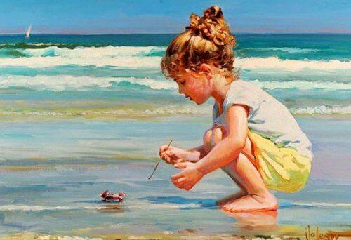 Maleri af pige i vandkant på strand