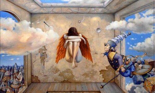 Psykologi og alkymi illustreres af svævende kvinde