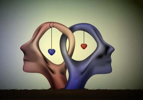 Abstrakte menneskehoveder med hjerter