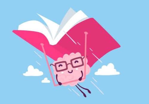 Animation af hjerne, der flyver med bog