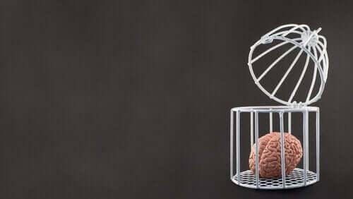 Åbent sind illustreres af hjerne i åben beholder
