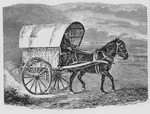 Historie om munken og købmanden illustreres af en munk i en hestevogn