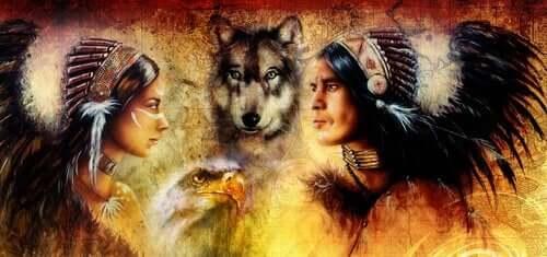 Indianerkvinde og mand