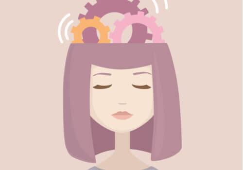 Tegning af kvinde med tandhjul i hjerne
