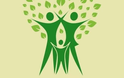 Tegning af grøn familie