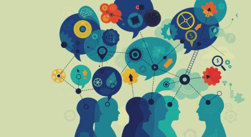 Personer udveksler idéer og intelligens