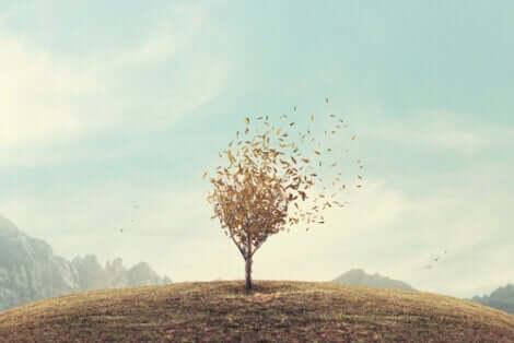 Blade, der flyver af træ