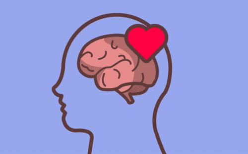 Følelsesmæssig selvregulering illustreres af hjerte i hjerne