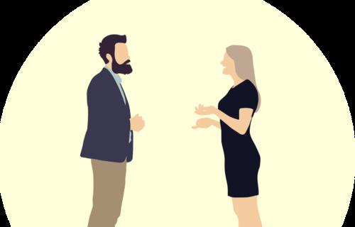 Animation af mand og kvinde, der taler