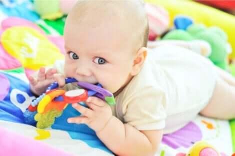 Baby, der bider i legetøj