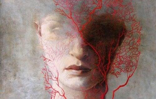 Prosopagnosia illustreres af sløret ansigt med røde grene foran
