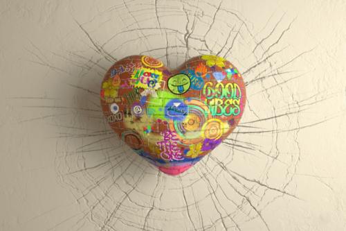 Hjerteformet sten med skrift på